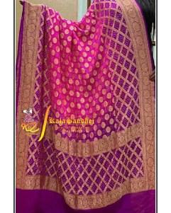 Pure Crape Silk Bandhani Dupatta Megenta-Pink