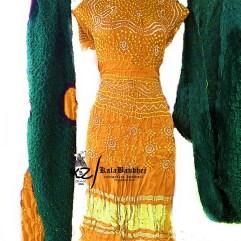 Rust-m Green gajisilk bandhani dressmaterial