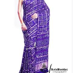 purple Gajisilk bandhani gharchola-saree