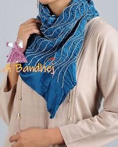 Sky Blue Bandhani GajiSilk Stole