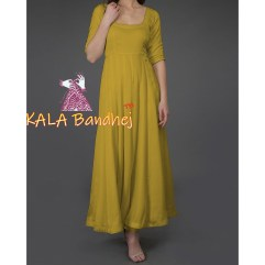 Mustard Kurta With Bandhej Dupatta With Suit