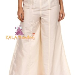 Off-White Kalidar Palazzo With Magenta Hem
