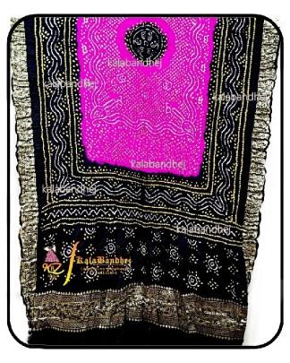 Black-Pink Gajisilk Bandhani Naksi-Boder Dupatta