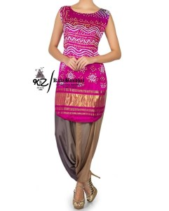 Megenta Gaji Silk Patiala Suit