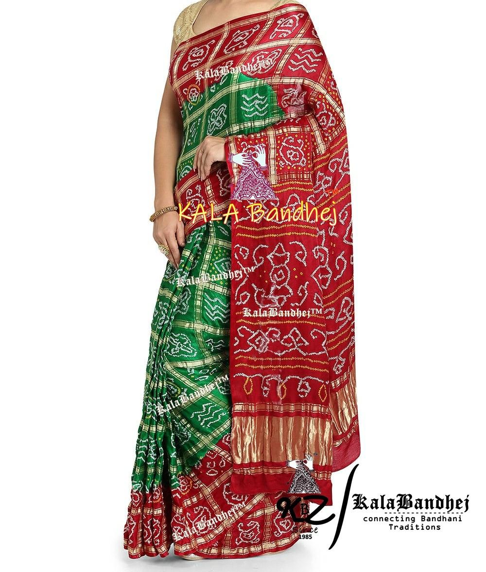 Red-Green GajiSilk Bandhani Gharchola Saree