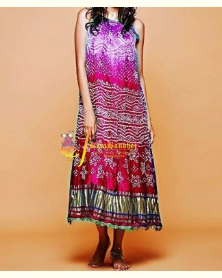 Red-Rani GajiSilk Gown