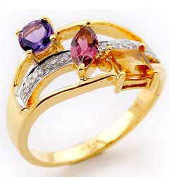 Dedicated to the beautiful soul of a miracle called 'Woman'! 18K Yellow Gold Ring with Amethyst, Citrine, Pink Tourmaline Color Stones and Diamonds.