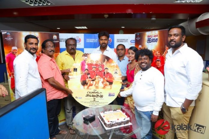 Vennila Kabaddi Kuzhu 2 Movie Audio Launch held at Hyderabad. Vikranth, Arthana Binu, Selva Sekaran, V. Selvaganesh, E. Krishnasamy at the event.