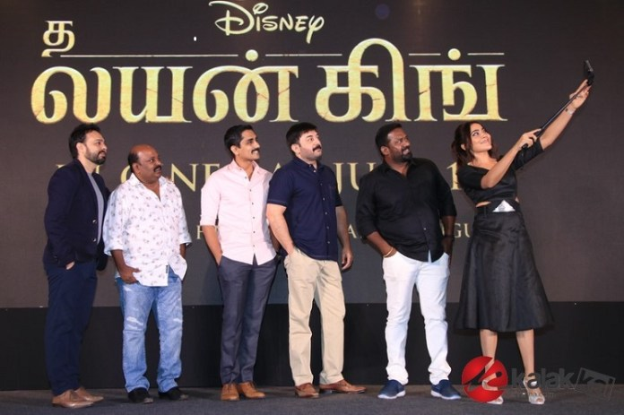 The Lion King Pre Release Event held at Chennai. Arvind Swami, Siddharth, Singam Puli, Robo Shankar, Bikram Duggal at the event.