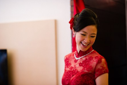 Kalamakeup bride Jasmine getting ready for Chinese Tea Ceremony at Sheraton hotel, H.K.