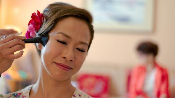 Kalamakeup wedding makeup and hair styling for bride Kalo at Gold Coast hotel, Tuen Mun