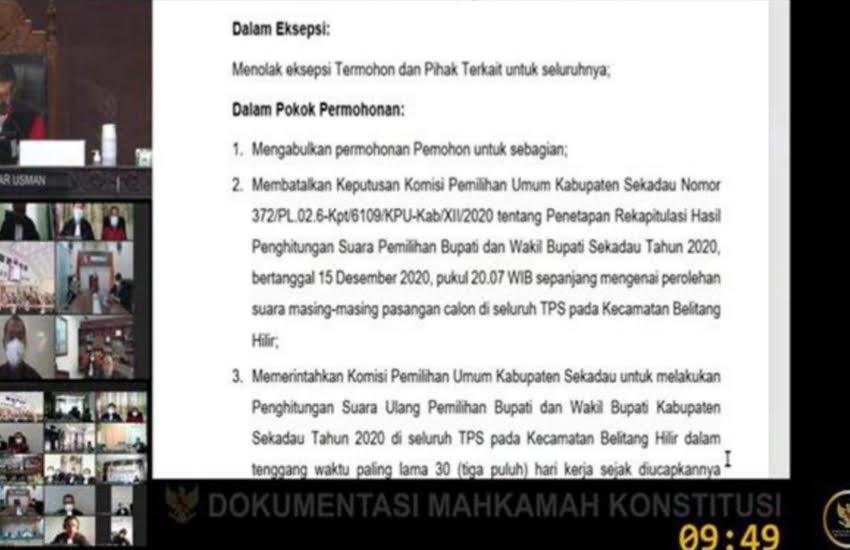 Hakim MK Bacakan 7 Putusan Hasil Sengketa Pilkada Sekadau, Berikut Hasilnya