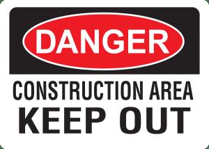 10x14 Plastic Sign Danger Construction Area