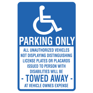 Stock Signs - Handicap Parking Unauthorized Will Be Towed