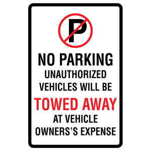 Stock Signs - No Parking Tow Away