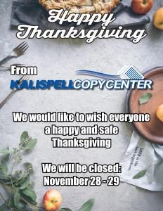 Thanksgiving Hours 2019 - Closed Nov 28-29