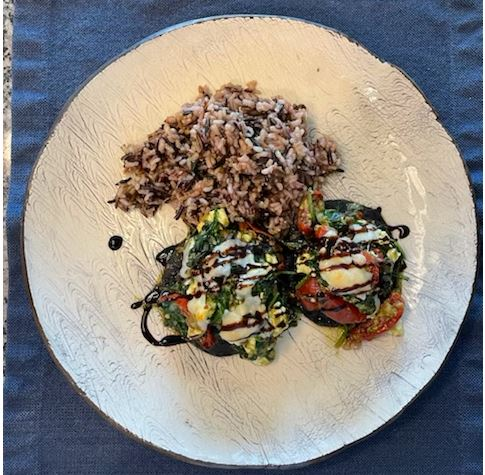 Dave's Spinach and Cheese Stuffed Portobello Mushrooms with Wild Rice