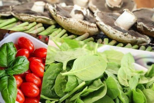 Portobellos Basil Tomato Spinach