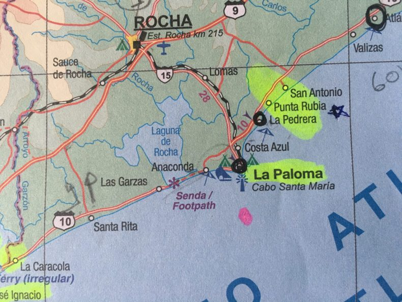 A photo of our trusty paper map. The double penciled arrows (avoiding Lagune de Rocha) were drawn by El Capitán Marcelo