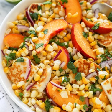 Peach halloumi and corn salad is refreshing side dish to serve at any event this summer! It's sweet, tangy and so full of flavor!