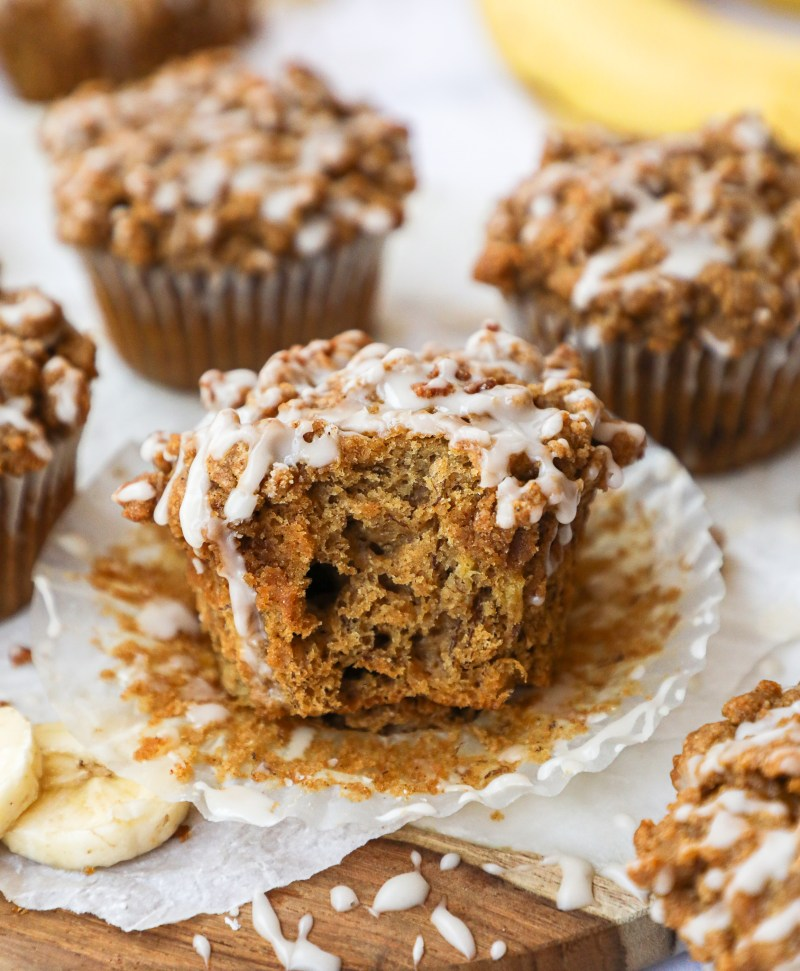 Banana bread coffee cake muffins are the perfect grab and go breakfast! They're easy to make and tasty delicious too!