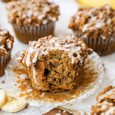 Healthy and delicious! These incredibly easy banana bread muffins are are soft, fluffy and full of cinnamon spice!