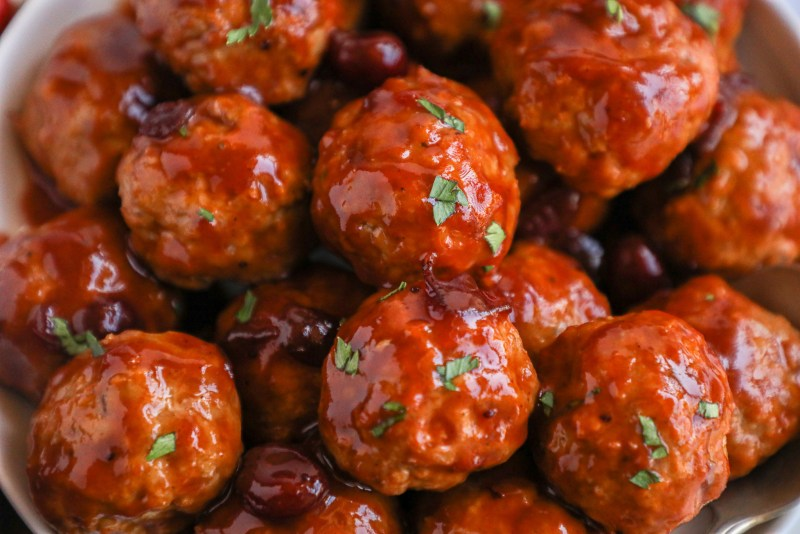 Cranberry bbq meatballs make a great holiday appetizer or even an easy lunch or dinner option too! They're sweet, tangy and so incredibly tender!