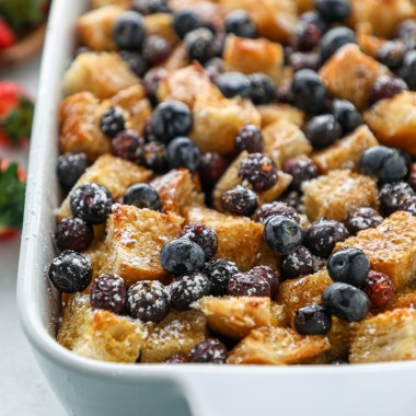 This sweet sourdough french toast casserole is just what you need for breakfast this weekend! It's easy to make, made with better for you ingredients and is dairy free too!