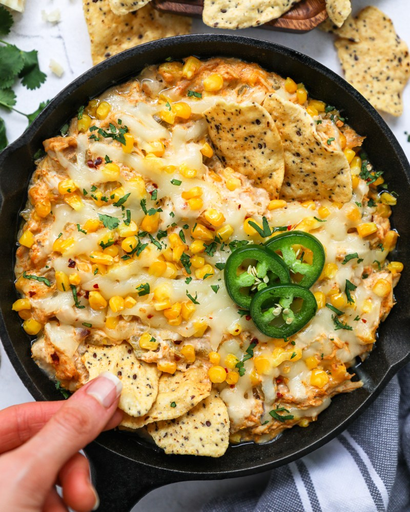 This skillet dip is so simple to make and exploding with flavor! It's made with better for you ingredients and is always a huge hit at any game day party!