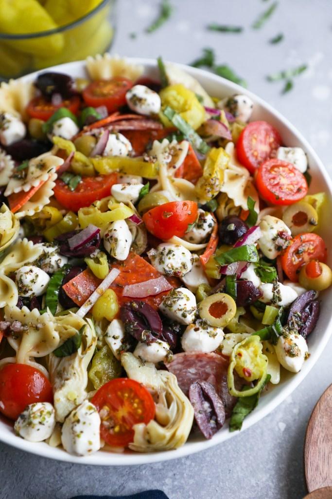 Close up photo of pasta salad made with antipasto ingredients