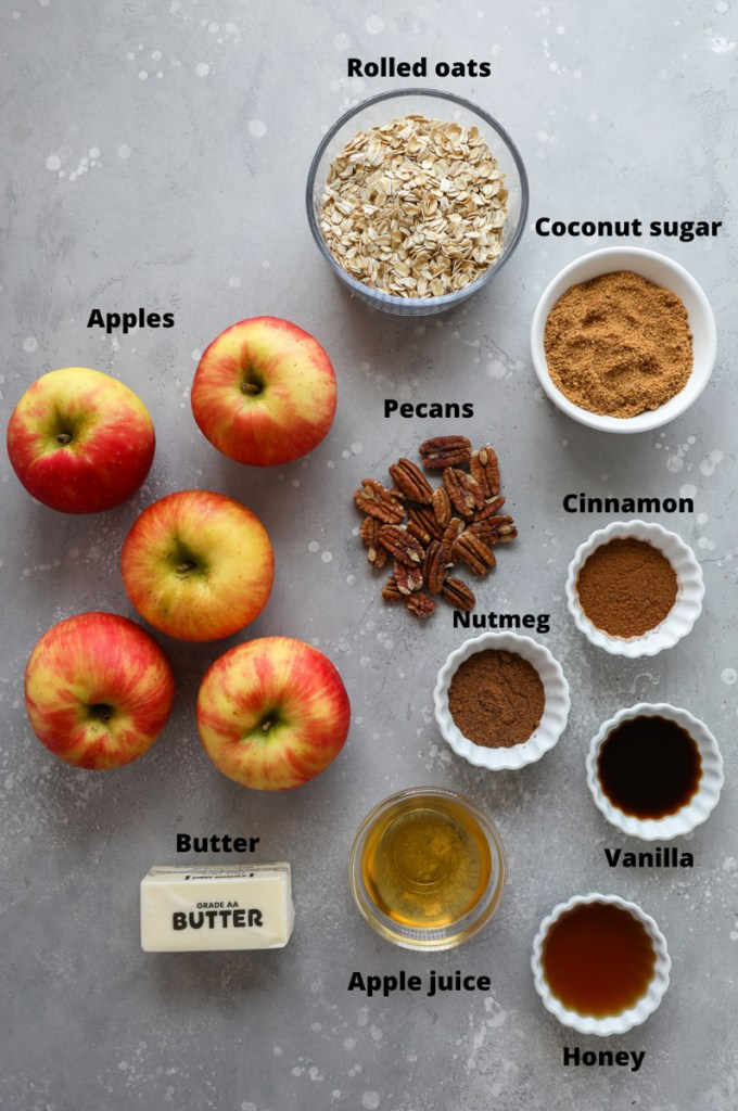 Ingredients for making baked stuffed apples
