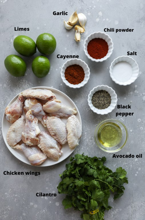 Ingredients used to make cilantro lime chicken wings in the oven