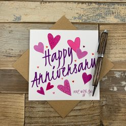 Pink Hearts Anniversary Card