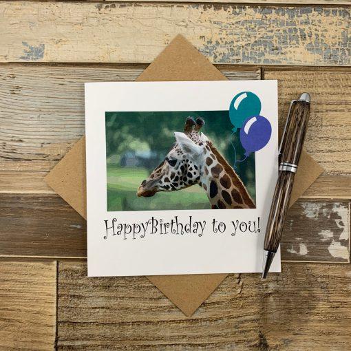 Watercolour Effect Giraffe Birthday Card