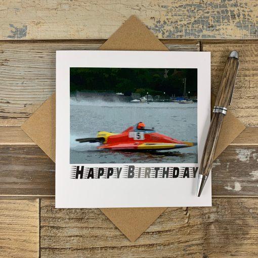 Speedboat on Oulton Broad Birthday Card