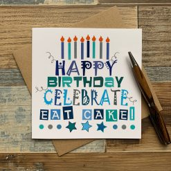 Blue Happy Birthday Eat Cake Card