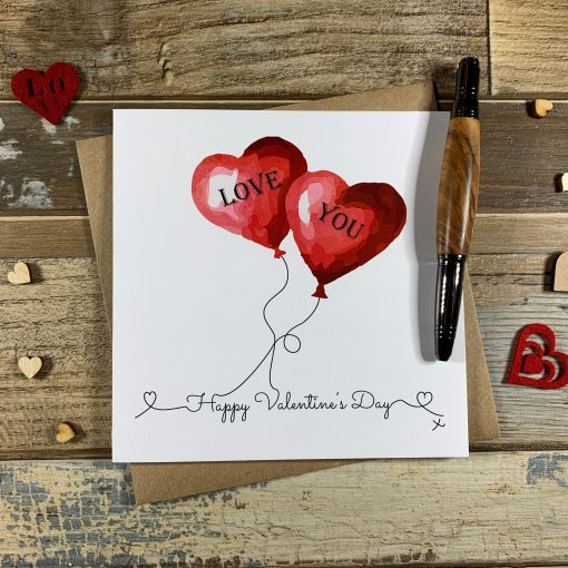 Heart Balloons Valentines Card