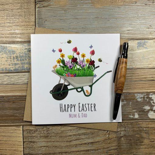 Bee and Flowers Wheelbarrow Easter Card