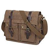Eshow Herren Canvas Freizeit Täglich Messenger Bag Arbeitstasche Umhängetasche Schultertasche Taschen 14 Zoll Laptop Geeign, (Kaffee 1)