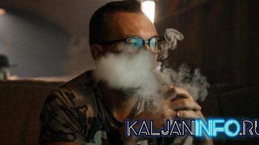 Мужчина в очках курит кальян.