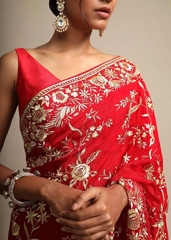 Buy Fiery Red Saree In Georgette With Resham Embroidered Floral Jaal Online - Kalki Fashion