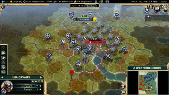 Civilization 5 American Civil War Scenario Union Deity Win