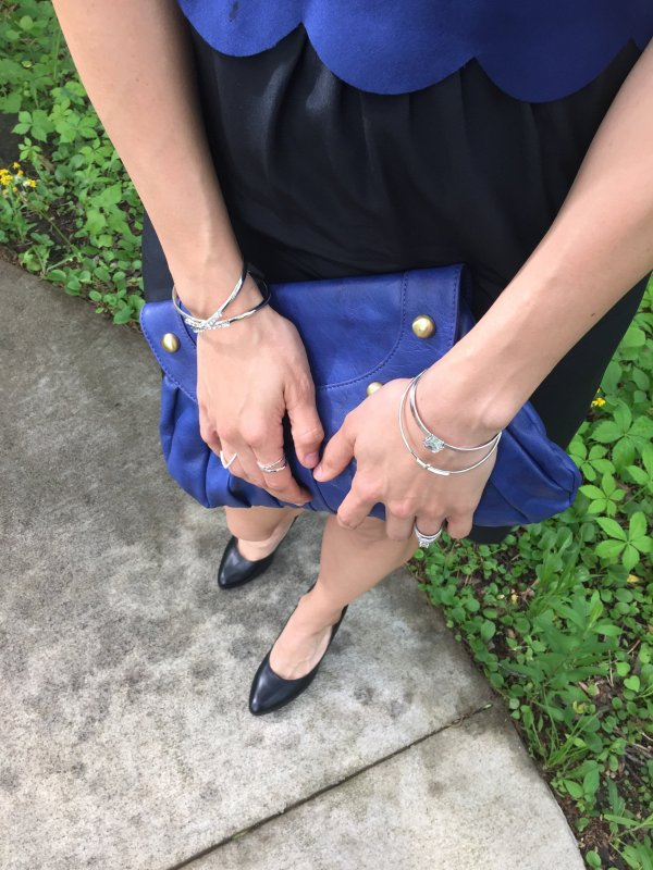 Scallop Layer Dress | Wedding guest | Wedding style | Spring dress | Black and blue dress | Blue clutch | How to style a blue clutch