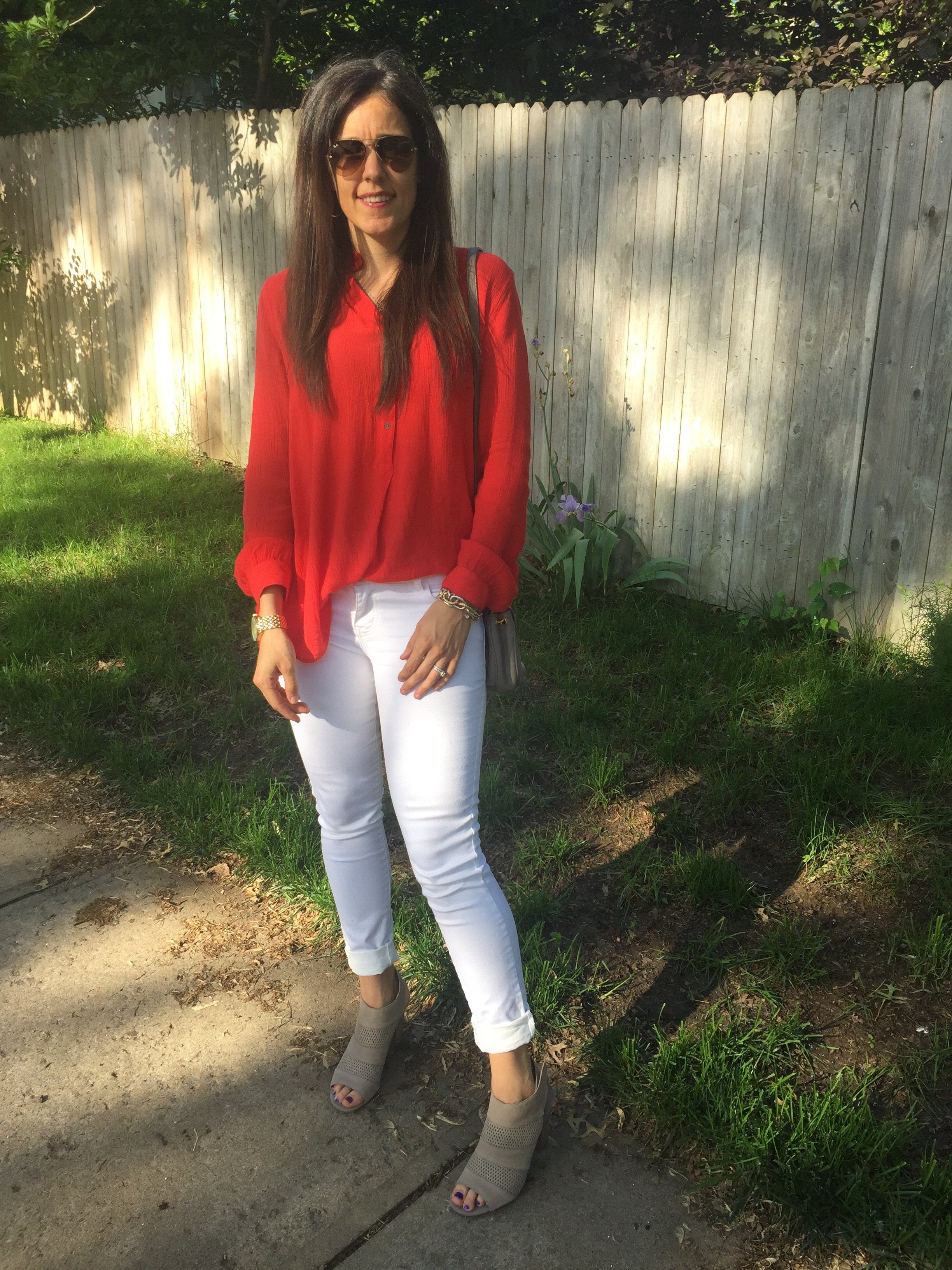 Red tunic, White jeans outfit, Red and white outfit, Free People tops