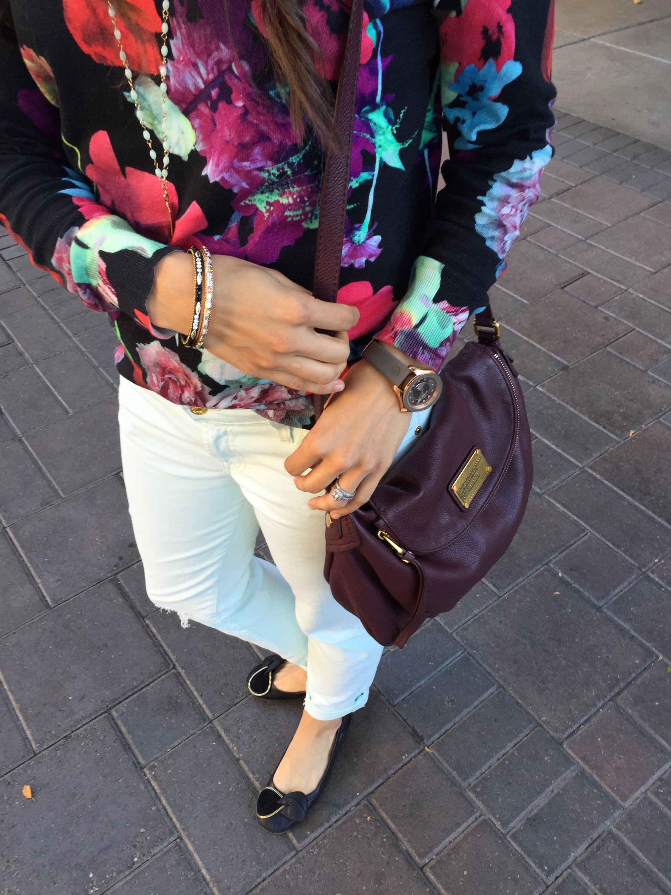 How to style colored jeans | fall fashion | styling for fall and winter | cool weather fashion | floral sweater outfit