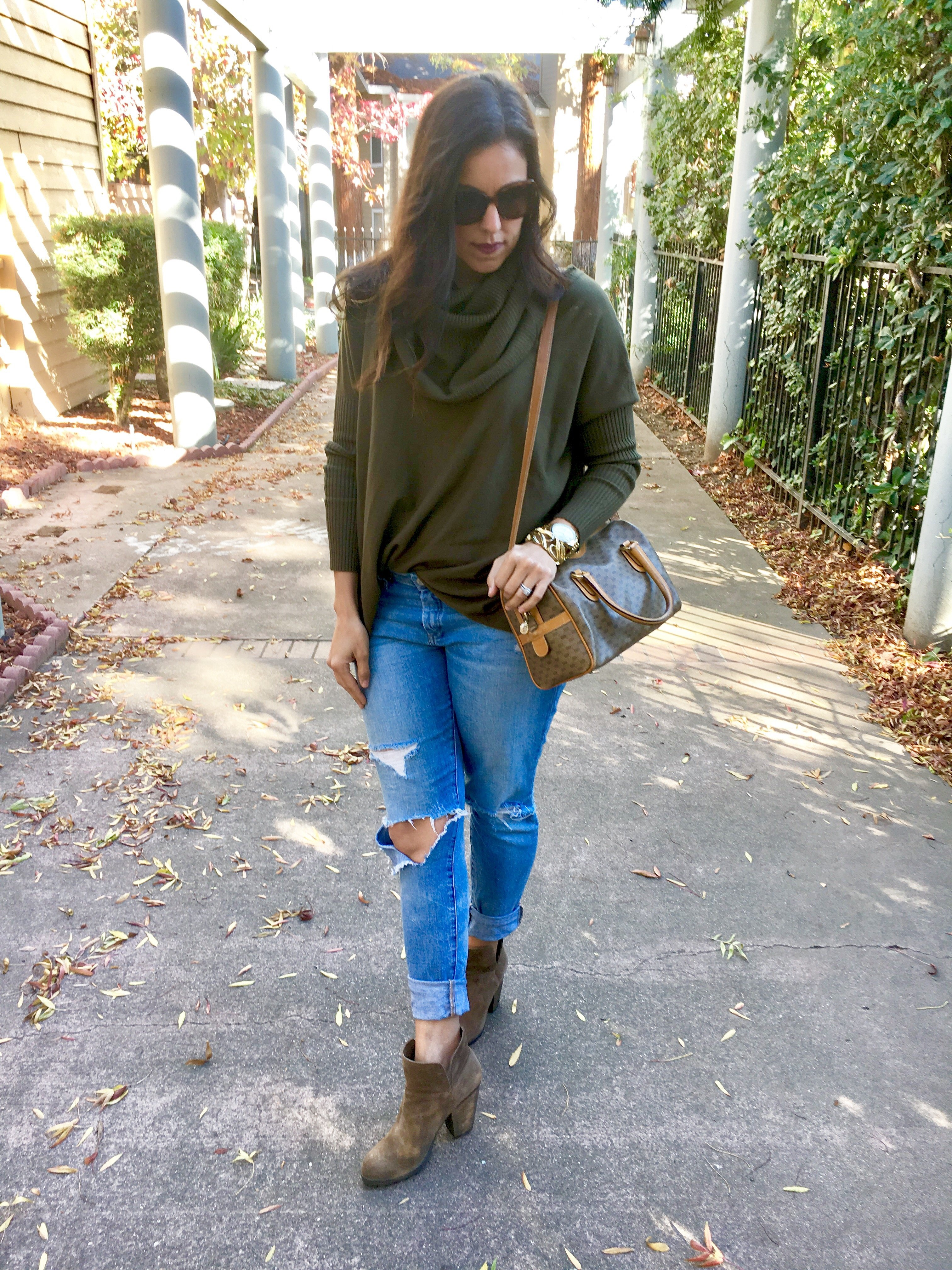 How to style cowl neck | fall and winter style ideas | fall fashion tips | cool weather fashion | styling booties