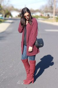 Styling a burgundy cardigan