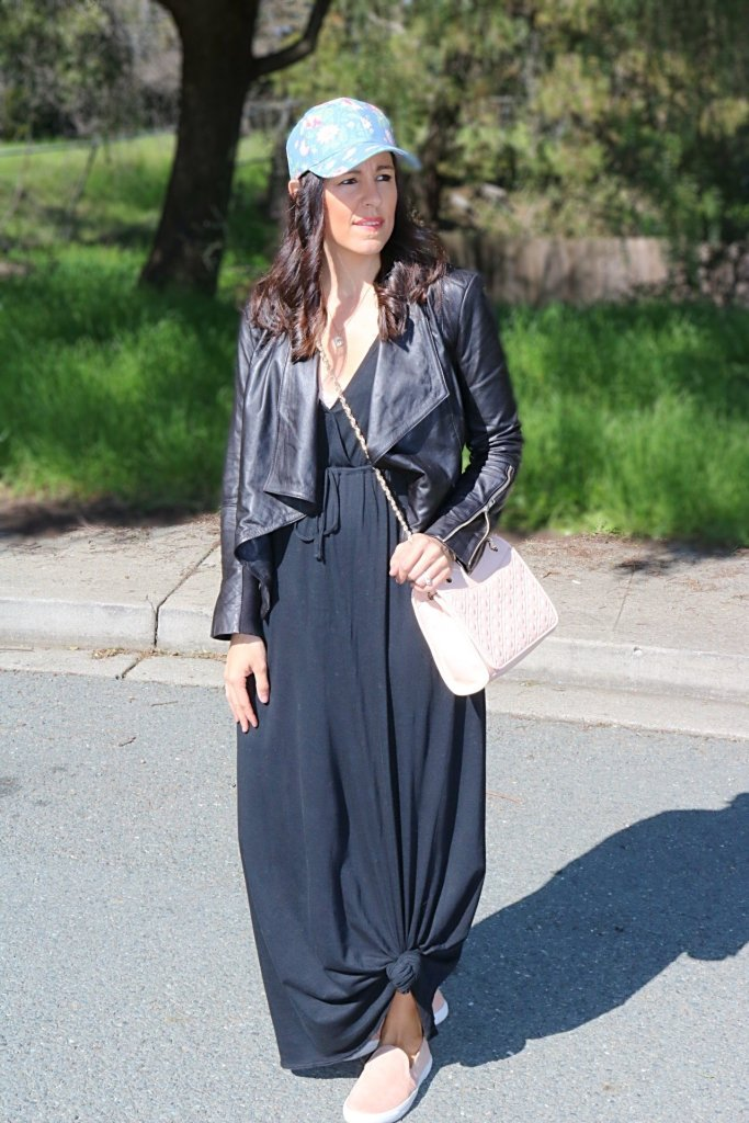 How to style a maxi dress, how to style a baseball hat, baseball hat, maxi dress tips, style tips for hats, dresses for spring, spring style tips