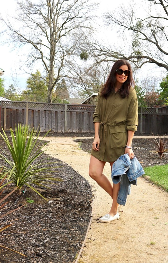 Utility Dress, Green Dress, How to style espadrilles, Spring style, spring styling tips, dressing for spring, spring dresses