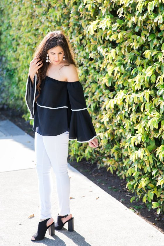 How to wear a bell sleeve top | Spring and fall fashion ideas | warm weather fashion tips | off the shoulder